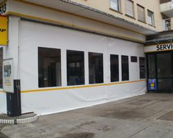 Vorhänge aus PVC zum Schieben für eine Erweiterung einer Werkstatt